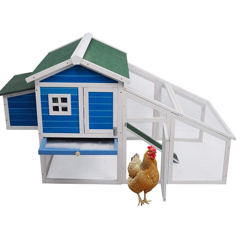 Lucky Tree Bunny Hen Cage House Large Chicken Coop Rabbit Hutch Outdoor Wooden Pet Home for Small Animals with Run Nest