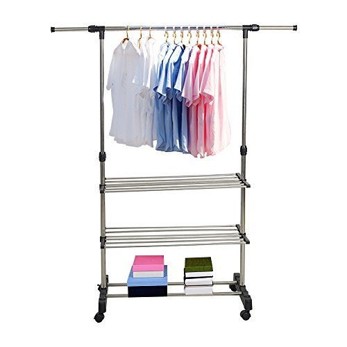 Karmas Adjustable 3-Tier Double rails Colthes Hanging Rack Folding Garment Rack With Wheels and Shelf
