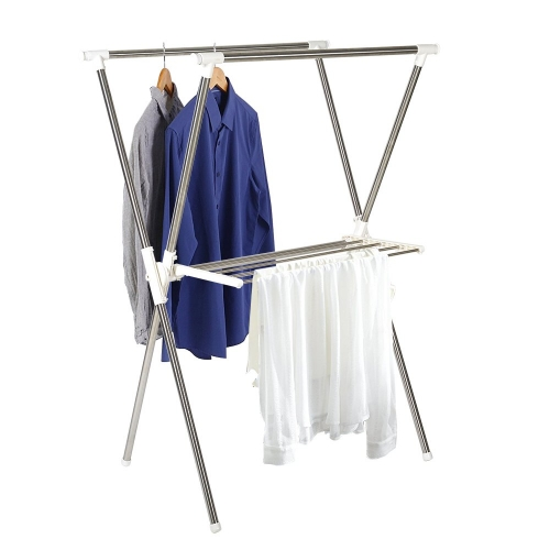 Karmas Folding Laundry Drying Rack Clothes Rack With Shelf Stainless Steel