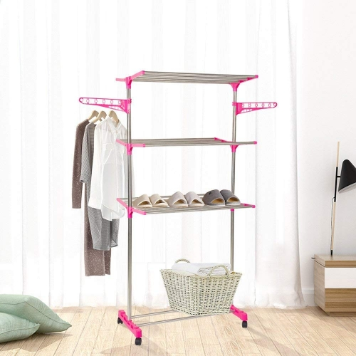 Dporticus 3-Tier Foldable Rolling Clothes Drying Rack Stainless Steel Garment Rack with Wheels and Wings Household and Commercial Use Pink