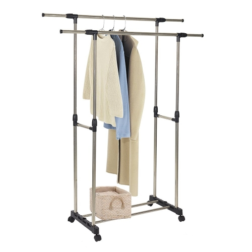 Karmas Adjustable Double Rail Heavy Duty Garment Rack Clothes Rack with Wheels Free Standing Black