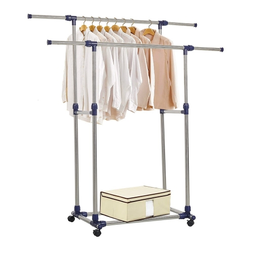 Karmas Adjustable Rolling Heavy Duty Garment Rack Double Rail Clothes Rack with Wheels