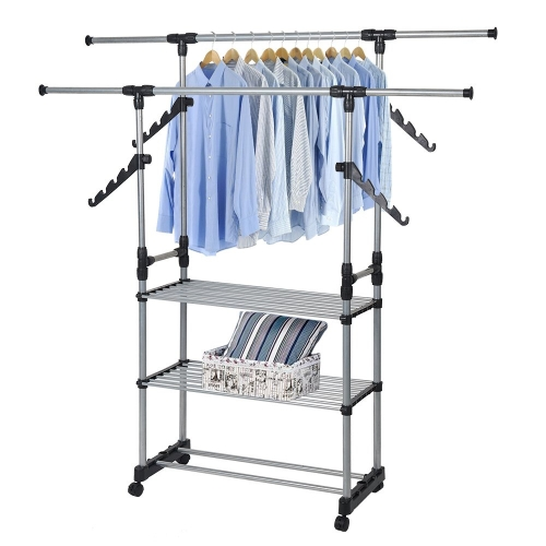 KARMAS Folding Double Rails 3-Tier Clothes Rack Hanging Rack Jacket Rack With Shelf And Wheels