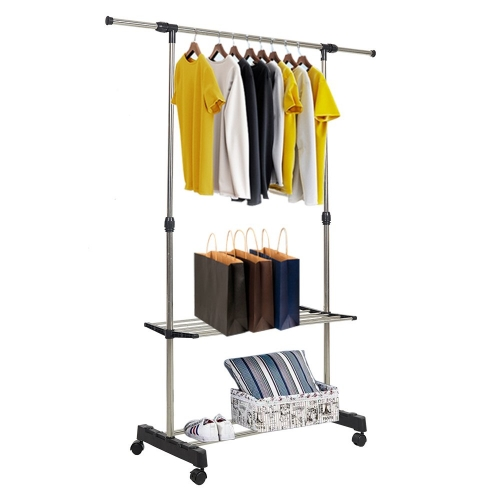 Clothes Rack Adjustabale Single Garment Rack With Shelves With Wheels Black