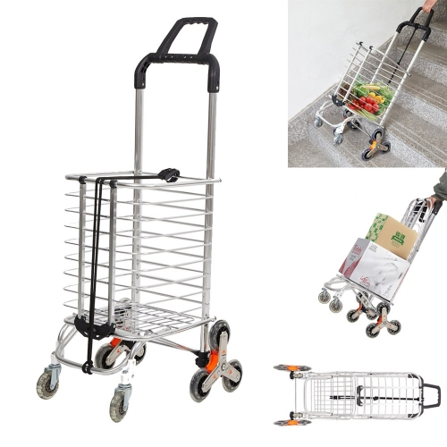 Karmas Folding Shopping Cart with Swivel Wheels Stair Climber Grocery Utility Hand Cart Trolley, Easily Collapsible and Portable