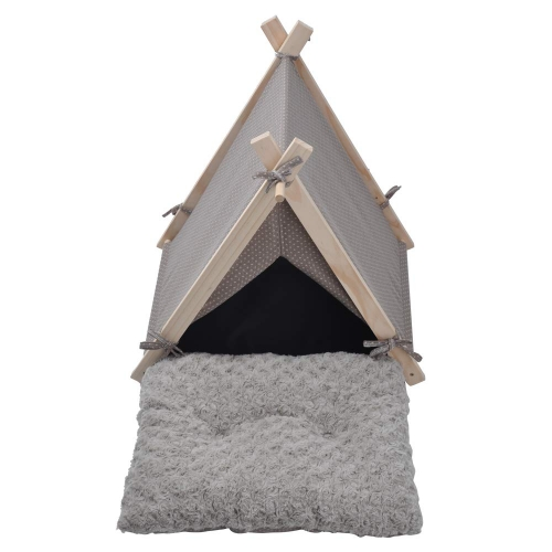 Karmas Pet Teepee Tent Dog Cat Bed Kennel Portable Puppy Kitten Rabbit House with Warm Soft Comfort Cushion