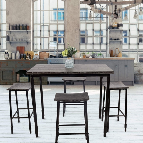 Dporticus 5-Piece Dining Set Industrial Style Wooden Kitchen Table and Chairs with Metal Legs- Espresso