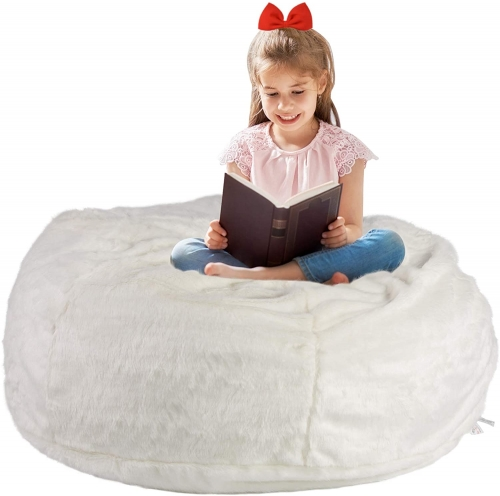 3FT Bean Bag Chair White Luxurious Furry Faux Fur Cover Soft Self-Inflated Beanbag Sofa Lounger for Adults Kids, Sponge Filling