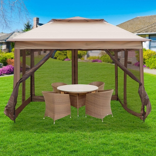 Pop Up Canopy Tent with Mesh Sidewall 10.5'x10.5'x8.5' Height Adjustable Outdoor Gazebos